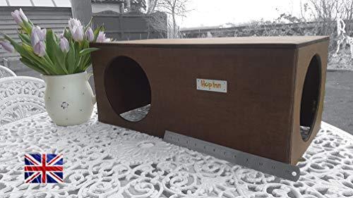 Hop inn - casetta per conigli, rifugio/nascondiglio adatto anche per gatti, ideale per interni o esterni, grande, design di proprietà, costruito per durare, pronto all'uso
