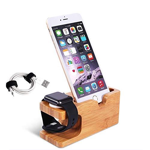 Adurei Stand con iPhone y Apple Watch Bambú Charging Estación Soporte...