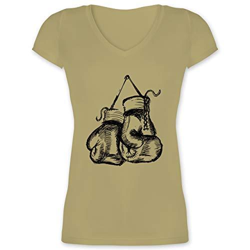 Kampfsport - Boxhandschuhe - S - Olivgrün - XO1525 - Damen T-Shirt mit V-Ausschnitt