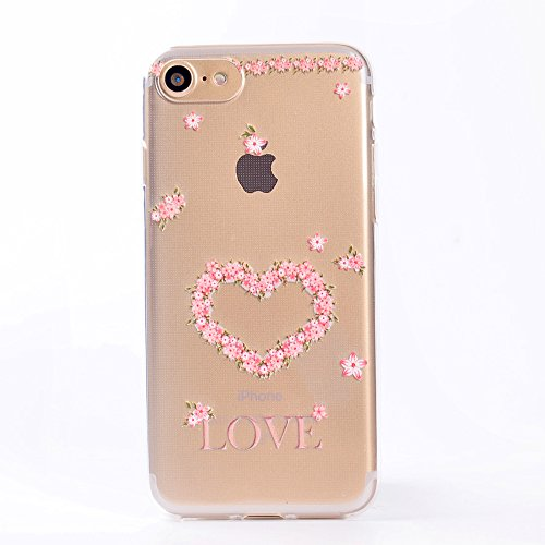 Pour iPhone 7 (4,7 zoll) Case Cover, Ecoway TPU Clear Soft Silicone Back Dream Rose Housse en silicone Housse de protection Housse pour téléphone portable pour iPhone 7 (4,7 zoll) - Dream Rose Amour