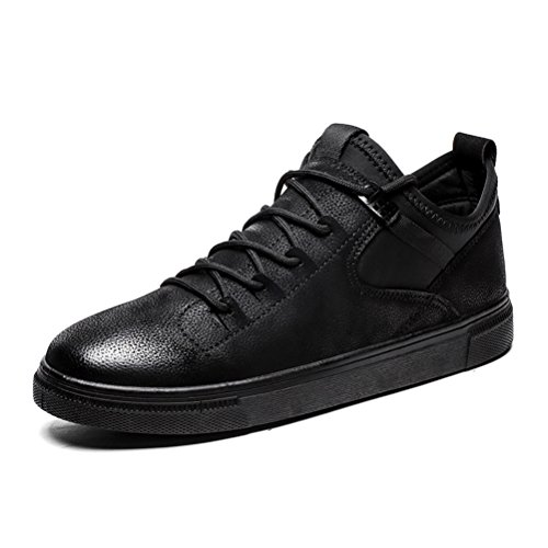 Herrenschuhe Herren Freizeitschuhe Niedrige Sneakers Atmungsaktive Lace-up Deck Bootsschuhe (Color : Black, Size : 43)