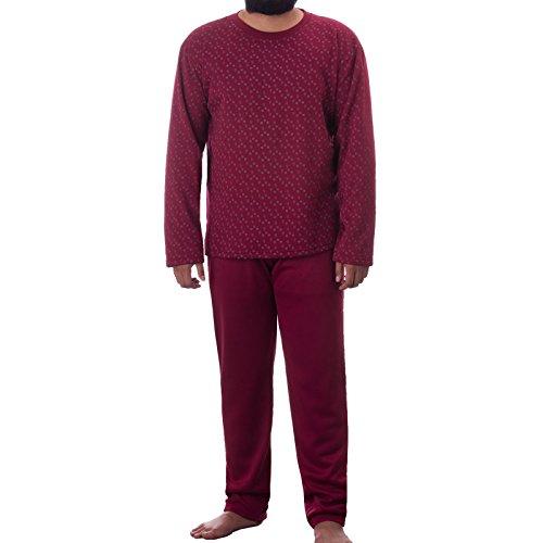 Lucky Herren Thermo Pyjama Rundhals angerauht mit Paisely Muster Schlafanzug Winter, Farbe:Bordeaux;Größe:L
