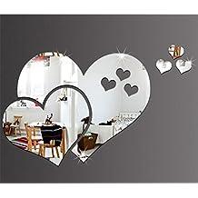 Wmshpeds Cuore - cuore cuore - specchio a forma di parete di cristallo di pasta a tre dimensioni - Soggiorno Camera da letto camera matrimoniale decorazione parete a specchio adesivi