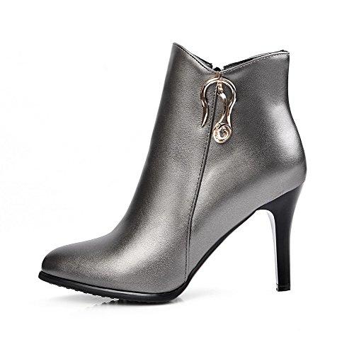 VogueZone009 Damen Stiletto Niedrig-Spitze Spitz Zehe PU Leder Stiefel, Grau, 43
