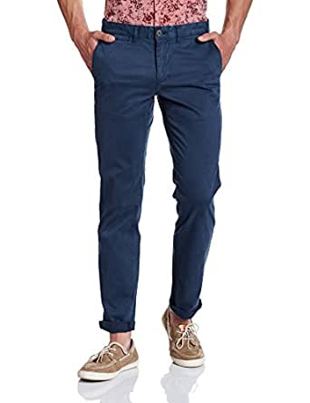 Symbol Amazon Brand Men's Slim Fit Casual Trouser (S17TRS06-2_Mid Blue_38W x 31L)