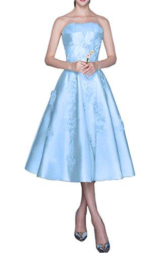 Prom Style Damen Prinzessin Traeglos Abendkleider Ballkleider Partykleider  Cocktailkleider ALinie Lang Spitze mit Applikation Hellblau