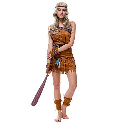 FHSIANN Erwachsene Frauen Sexy Halloween Indian Hunter Kostüm Günstige Cowgirl Quaste Kleid AmericaNative Apache Cos Fringe Outfit Für Mädchen (Beer Hunter Kostüm)