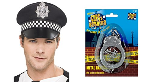 Police Handcuffs and Panda Cap Cop Adults Mens Womens Ladies Fancy Dress Accessory ()