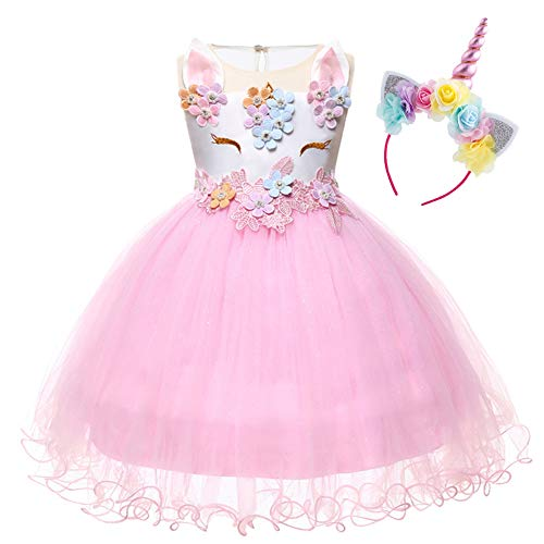 c8b0153d0abe Costume da Principessa Unicorno per Bimba con Vestito Ballerina Abiti  Bambini Halloween Abito con Orecchie Carnevale