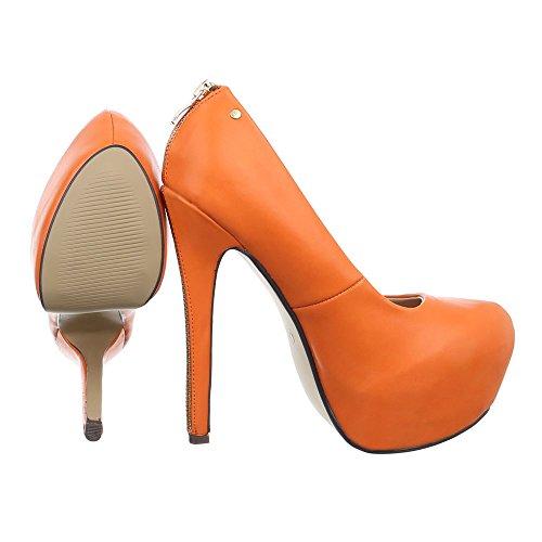 Ital-Design , chaussures compensées femme Orange