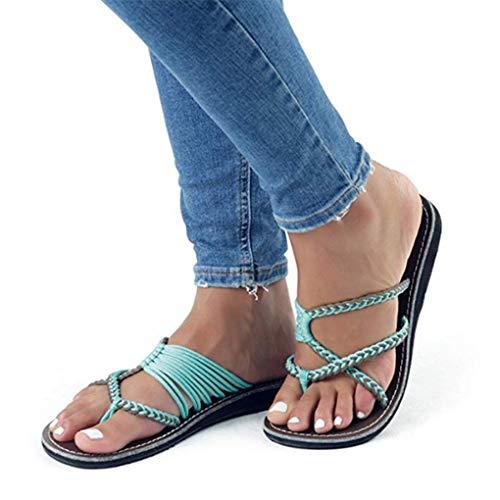 Sommer Pantoletten Schuhe für Damen/Dorical Frauen Flip Flops Kreuzband Geflochtene Sandalen Roman Schuhe Woven Strap Mode Strand Hausschuhe Flacher Anti Rutsch 35-43 EU Ausverkauf(Blau,39 EU)