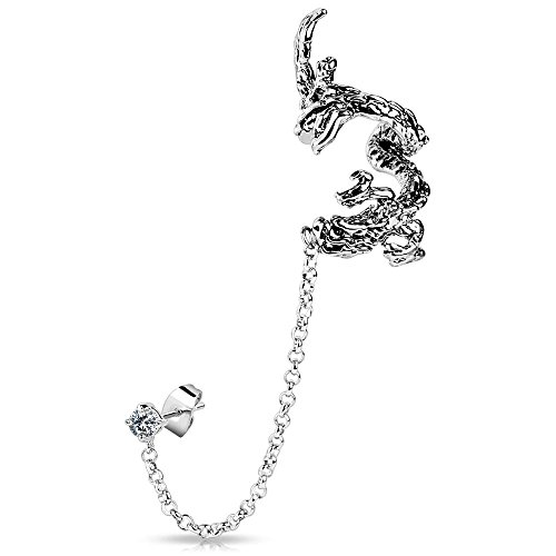 Bungsa® Drachen Ear Cuff Ohrklemme mit Kette silber für Damen & Herren (Ohrstecker Conch Fake Piercing Ohrringe Ohrclip Ohrschmuck Damen Frauen Herren Mode)