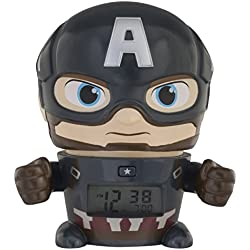 BulbBotz Despertador Infantil con Luz Nocturna de Capitán América de Vengadores, Azul, 11.5x15.3x16.5 cm