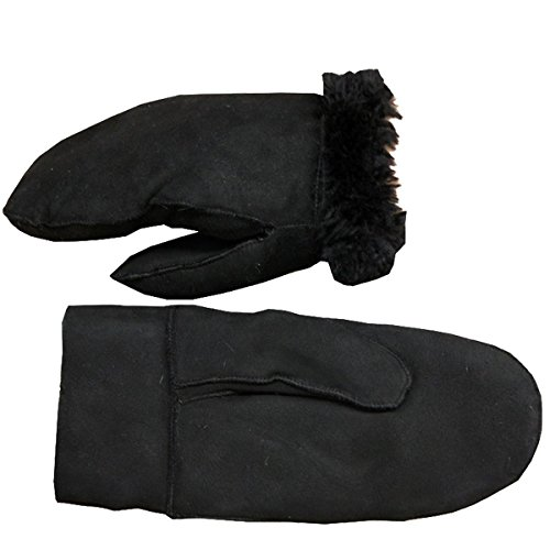Sonia Originelli Fausthandschuh Schaf Lammfell Fäustlinge Leder Handschuhe Farbe Schwarz, Größe M (Lamm-fell Schwarze)