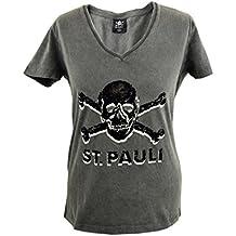 St. Pauli FC Damen T-Shirt Totenkopf Schwarz Grau V-Ausschnitt SP021635 ec72dc0bf4