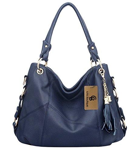 Ichic Boutique(TM)Damen Handtaschen Hobo-Bags Schultertaschen Beutel Beuteltaschen Leder Tasche,Dunkelblau (Handtasche Clutch Bag Leder Hobo)