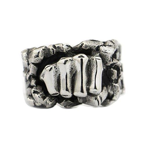 lisnion 925Sterling Silber Leistungsstark Fist Breaking Stein Herren Biker Ring TA77