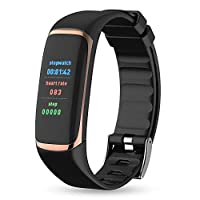 OOFAYWFD Fitness tracker, 0.96 inch color screen heart rate blood oxygen HRV respiratory fatigue monitoring heart alarm multi-sports mode Bluetooth smart bracelet,6