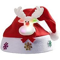 HEJIANGTAO Sombrero de muñeco de Nieve navideño Adornos navideños de Sombreros Brillantes para viveros, Modelos de Ciervos (niños con luz)