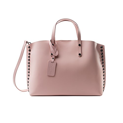 Almo - Borsa in pelle da donna made in Italy, colore: rosa antico, a tracolla, a spalla con tracolla staccabile