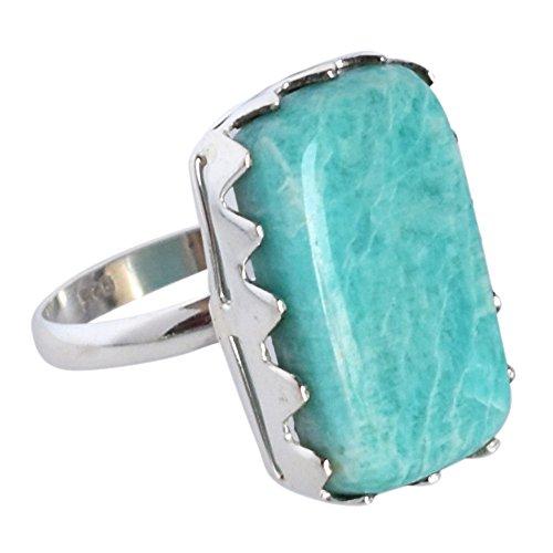 Exotic verde amazzonite anello realizzato a mano in argento sterling 925sz 10fsj-1500