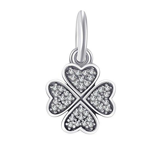 Changeable charms bead ciondolo da donna argento sterling 925 - erba fortunato