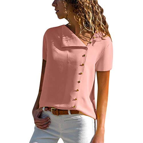 Vimoli Blusen Damen beiläufiges Revers Neck T-Shirt Kurzarm Schnalle Bluse Chiffon Asymmetrie Tops Einfarbig (Rosa,De-40/CN-M) -