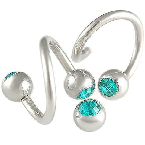 paire arcade piercing spirale cartilage oreille helix anneau acier 1,6mmx10mm bijou Blue-Zircon FKQA
