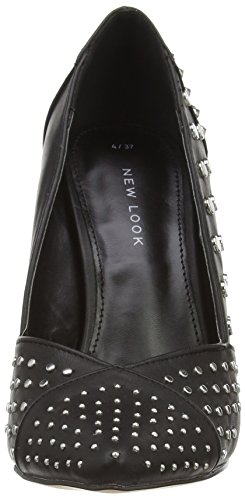 New Look Rivets Studded Point, Scarpe con tacco a punta chiusa donna Nero (Black (01/Black))