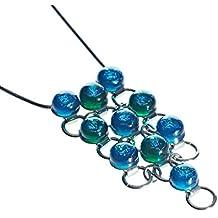 """Collezione CRISTALICA """"Fusing Gem"""", Ciondolo cu perle in vetro soffiato, verde, 3.5 cm, stile moderno - unico (Art Glass powered by CRISTALICA)"""
