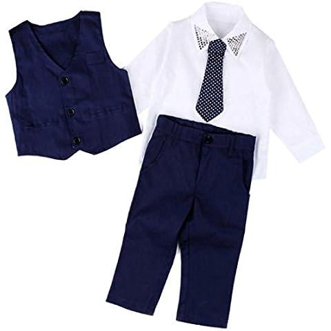 Kingko® Neonati maschi gentiluomo sposa Abiti Camicie + panciotto + Pantaloni lunghi + Tie vestiti 1 Set