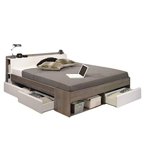 Funktionsbett 140 * 200 cm Eiche Silber Grau/Weiß inkl 3 Roll-Bettkästen Jugendzimmer Kinderzimmer Schlafzimmer Kinderbett Jugendbett Liege