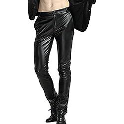 Zhhlaixing Hombres Velvet Slim Fit Motorcycle Pantalones Cuero de PU Elastic Skinny Pants Biker Trousers Waterproof