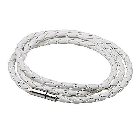 Kangqifen Schmuck Damen Armband Lederband Edelstahl-Schnalle Armschmuck Länge 21 cm(Weiß) (Schwarz Rocker-uhr)