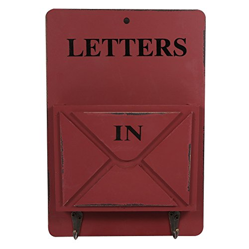 Vintage cassetta postale/ mailbox di legno a parete, scatola d'immagazzinaggio con piloni portachiavi per corridoio portone cestello portaoggetti ( colore : rosso )
