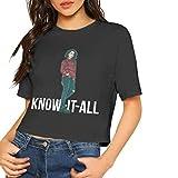 Photo de Honyse Alessia Cara Summer Women Casual Stylish Current Customized Navel Soft Cotton T-Shirt,Black,L par Honyse