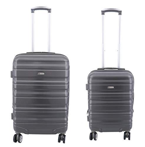Lot de 2 valises Extensible, Valise Cabine et Valise Taille M 65cm Worldline ABS & Polycarbonate 4 roulettes Serrure TSA (Gris foncé)