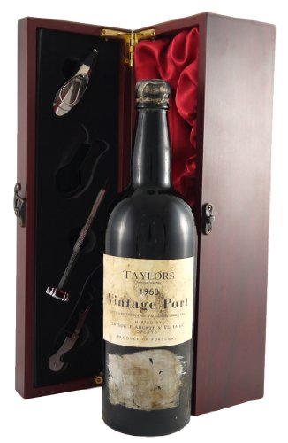 Taylor's Fladgate 1960 Vintage Port in a silk lined wooden box with four wine accessories 1 x 750ml