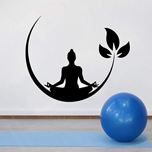 Tianpengyuanshuai Yoga Meditation Vinyl Wandaufkleber Schlafzimmer Zen Buddhismus Wandtattoos Entfernbare Wandaufkleber Dekoration Yoga 42x36 cm