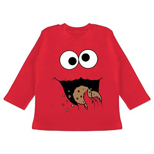 Karneval und Fasching Baby - Keks-Monster - 12-18 Monate - Rot - BZ11 - Baby T-Shirt ()
