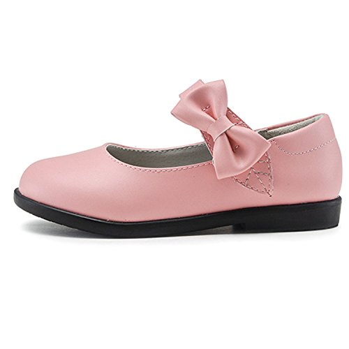 Oasap Girl's Velcro Strap Bow Mary Jane Perfomance Shoes pink