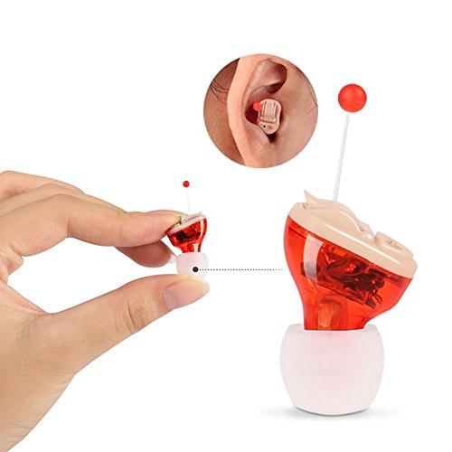 Mini Invisible Schwerhörigenapparat Hearing Aid Gerät Hilfsmittel Hörgerät Hörverstärker mit Tragebügel (Hörgerätset mit 901A Batterien + Aufsätzen) , Red(right)