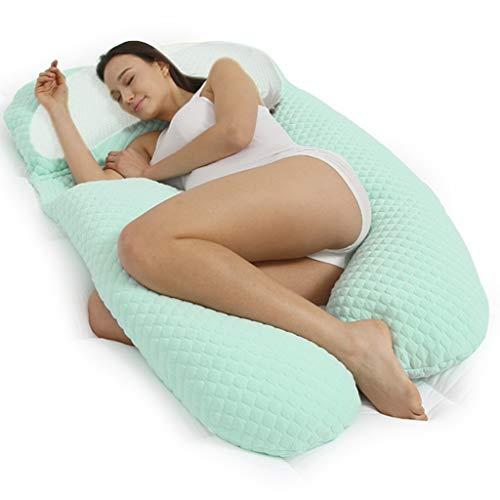 Schwangere Frauen-Kissen, Multi-Funktions-U-Kopf Seite Schlafzubehör Magen Unterstützung Taille Seitenkissen (Farbe : Green)
