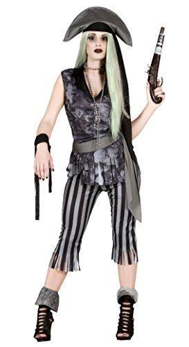 Damen 6-tlg. Ghost Tot Zombie Pirat Halloween Kostüm Kleid Outfit (Piraten Kostüm Toter)