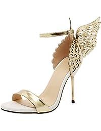 2e4d05ad23c8 FeiBeauty Mode Frauen Valentine Schuhe Bronzing Pailletten Metall Big  Bowknot High Heels Sandalen Kleid-Partei