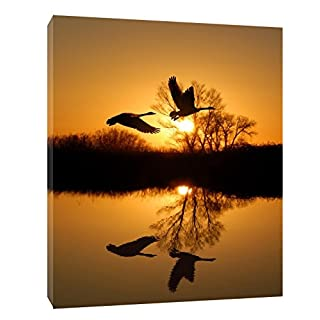 FLYING COUPLE GEESE SUNSET PRINT ON FRAMED CANVAS WALL ART HOME DECORATION 30 x 24 inch-38mm depth