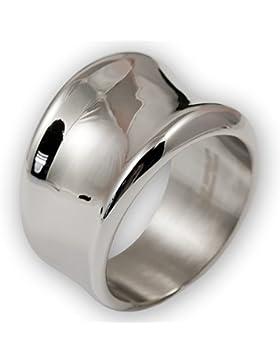Fly Style® - Band Ring Edelstahl geschwungen, breite Ringe für Damen, Mode-Schmuck silber poliert