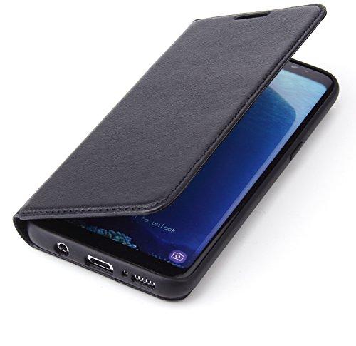 """CoinKeeper® Ledertasche """"Tank"""" Samsung Galaxy S8 Hülle Leder Schwarz RUNDUMSCHUTZ Kartenfach Magnetverschluss Standfunktion extra Dünn Tasche Premium Design"""