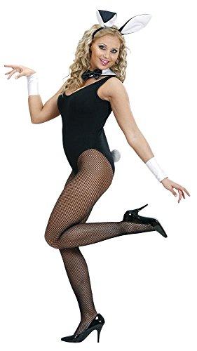 Widmann 8564B - Kostümset Bunny im Netz, Haarreif mit Ohren, Kragen, Manschetten und Schwanz, 5-teilig
