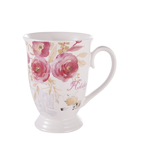 GuangYang Porzellan-Knochen-China-Tee-Becher Gesetztes 11 Unze Rosen-Anstrichmuster-Kaffeetasse